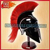 Greek Corinthian Helmet with Red Plume, Armor Sca Medieval Knight Spartan Helmet