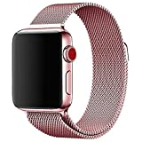 Apple Watch Band 42mm, KYISGOS Strong Magnetic Milanese Loop Stainless Steel Replacement iWatch Strap for Apple Watch Series 3 2 1 Nike+ Sport and Edition, Rose Gold