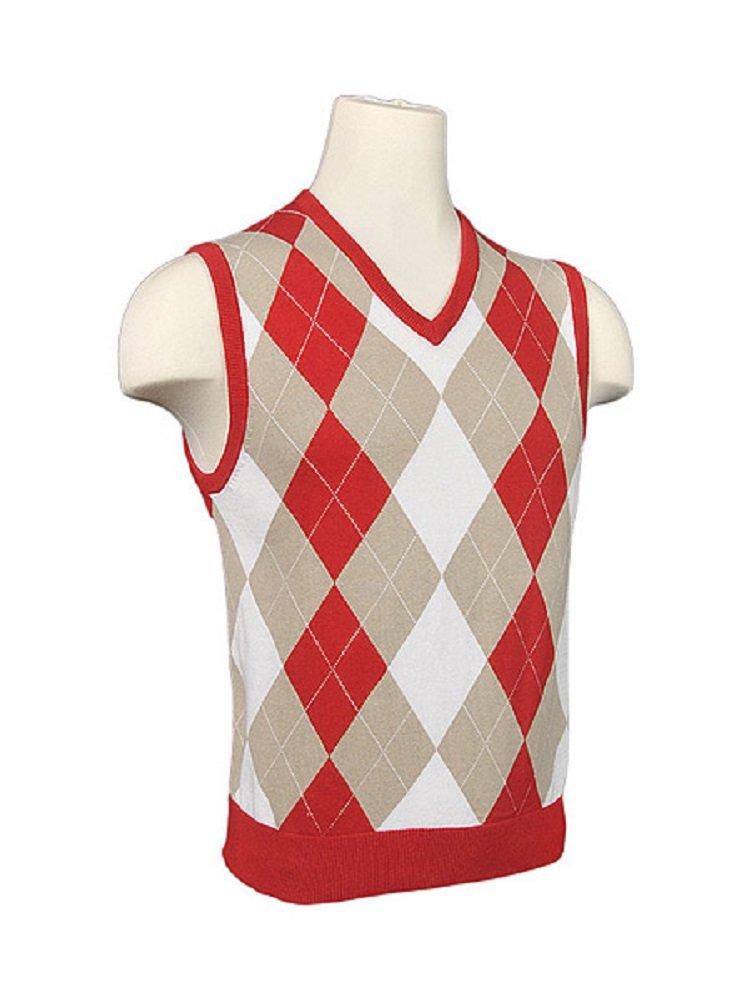 Amazon.com: Men's Argyle Sweater Golf Vest - Red/Khaki/White/White ...