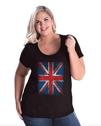 8ad451e0 Amazon.com: Novelty T-Shirt Union Jack Disstressed British Flag UK  Patriotic England Gift Women's Curvy Plus Size Scoopneck Tee: Clothing