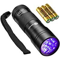 TaoTronics Black Light, UV Blacklight Flashlights, 12 LEDs 395nm, 3 Free AAA Batteries, Detector for Dry Pets Urine…