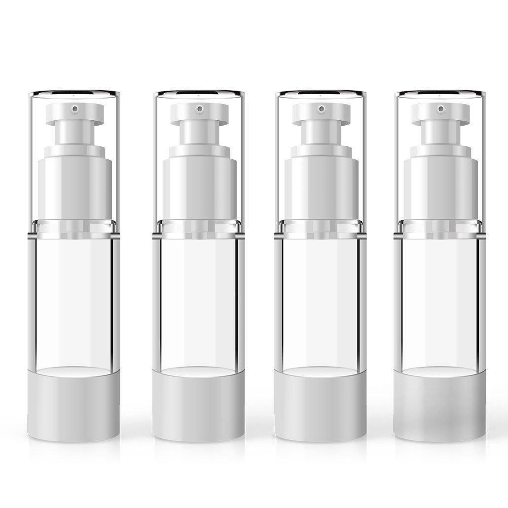 MYLL Airless PompaBottigliaDispenser di Plastica   Lozione Pompa Flacone - per Lotion/Sapone/Shampoo - BPA Free (30ml, Trasparente)