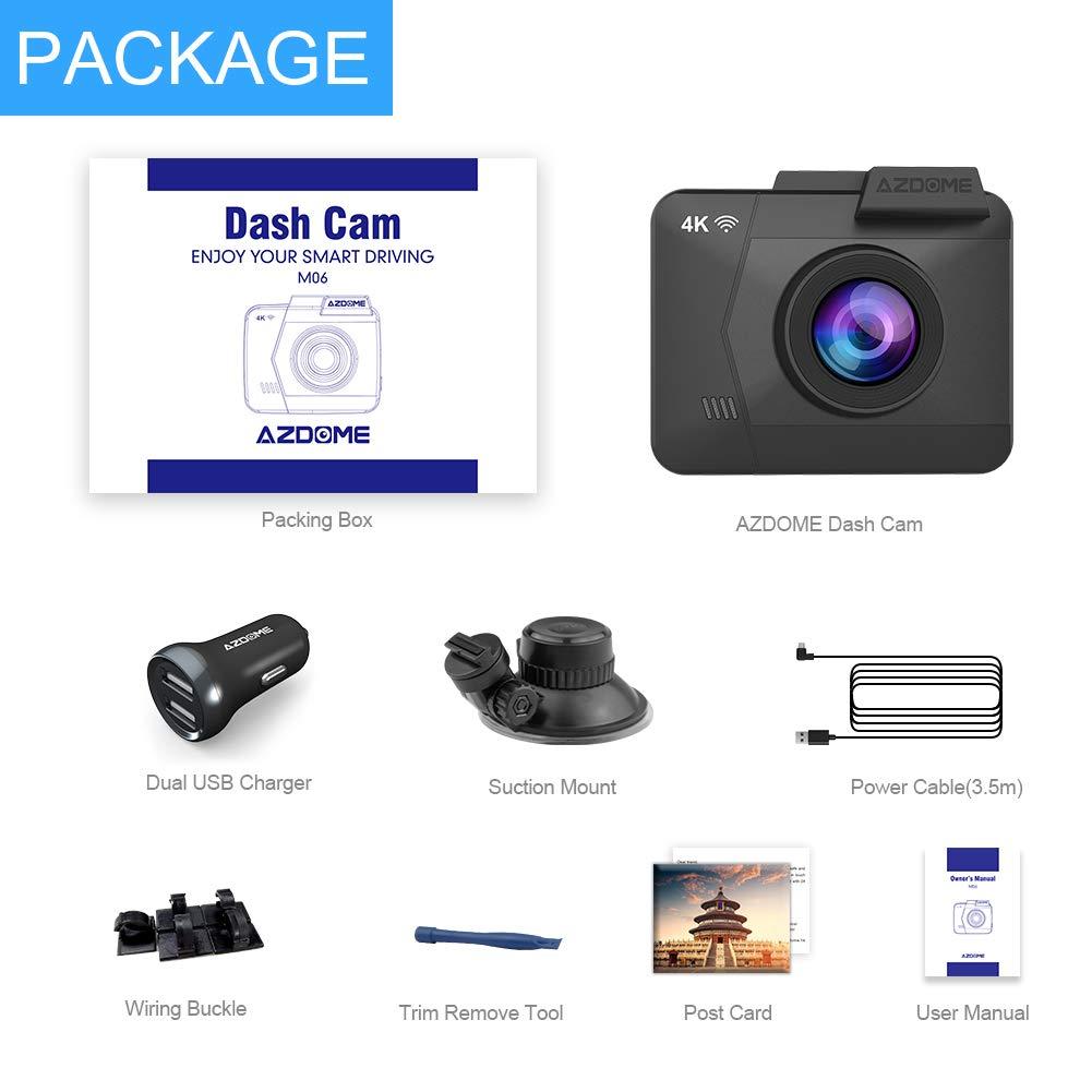 Grabaci/ón en Bucle AZDOME C/ámara de Coche 4K 2160P WDR con WiFi y GPS,Dashcam Grabadora Ultra HD,Dash CAM de /Ángulo Amplio 170/° con G-Sensor,Monitor de estacionamiento,Detecci/ón de Movimiento