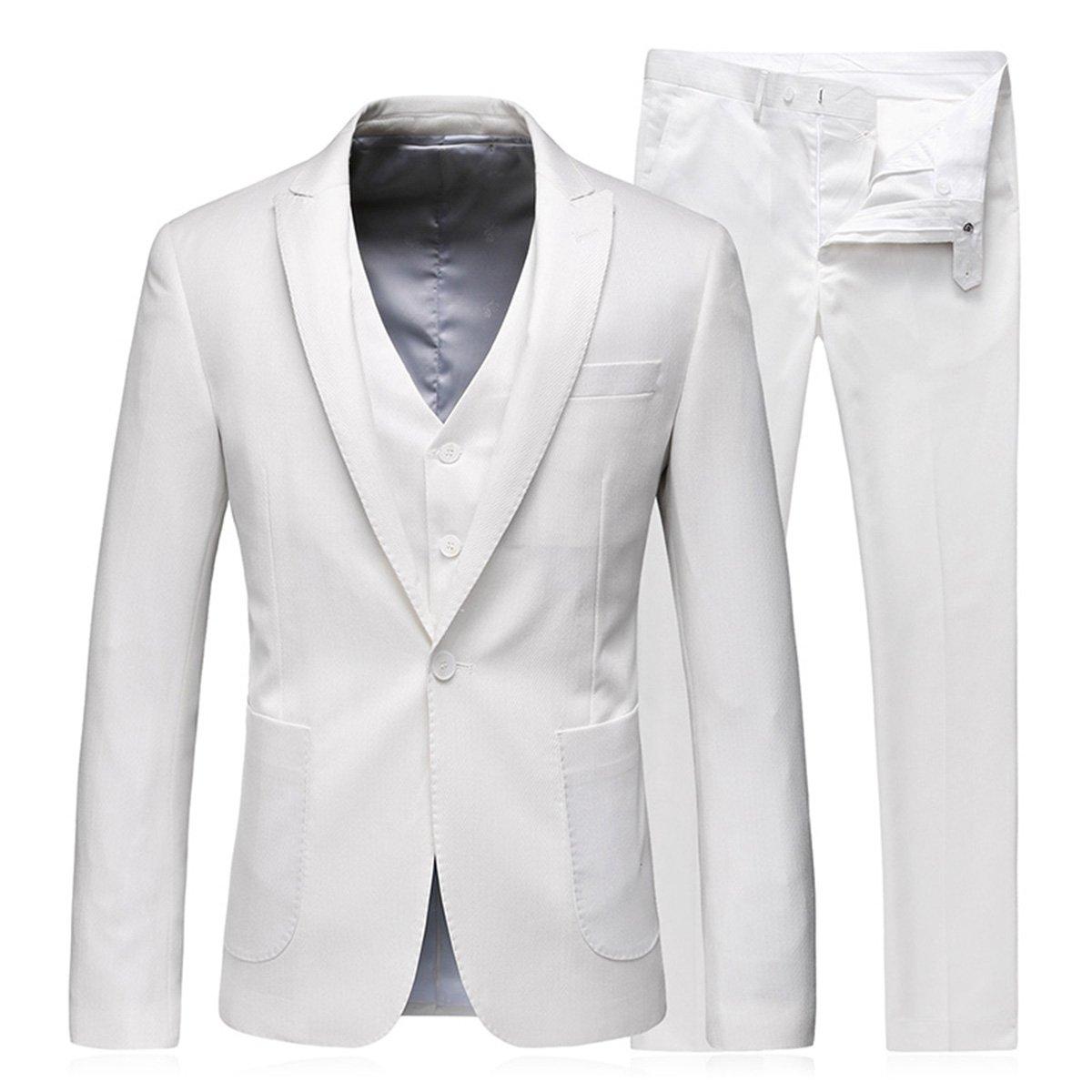 スーツ メンズ スリーピース 純色 WEEN CHARM ビジネス カジュアル 大きいサイズ 結婚式 xs/s/m/l/xl/2xl/3xl/4xl B075M69P2J XS ホワイト ホワイト XS