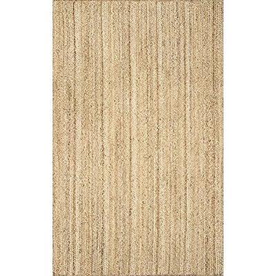 nuLOOM Hand Woven Rigo Jute rug Area Rug, 6-Feet x 9-Feet Oval, Natural