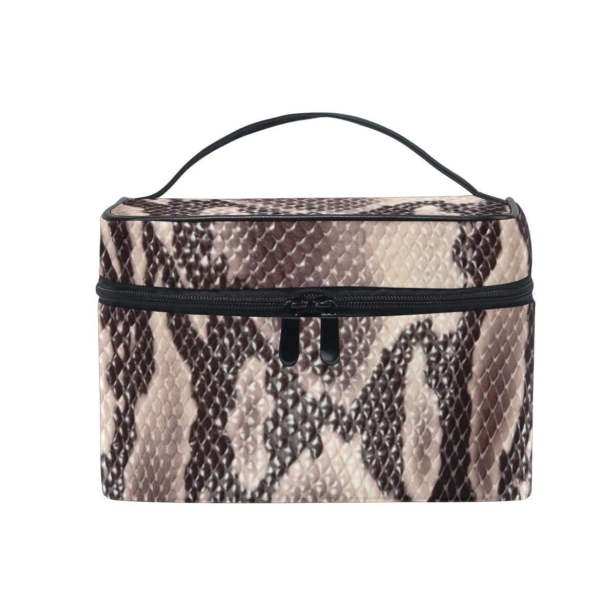 Large Travel Makeup Train Case Snake Skin Carrying Portable Zip Cosmetic Brush Bag Makeup Bag Organizer for Girls Women