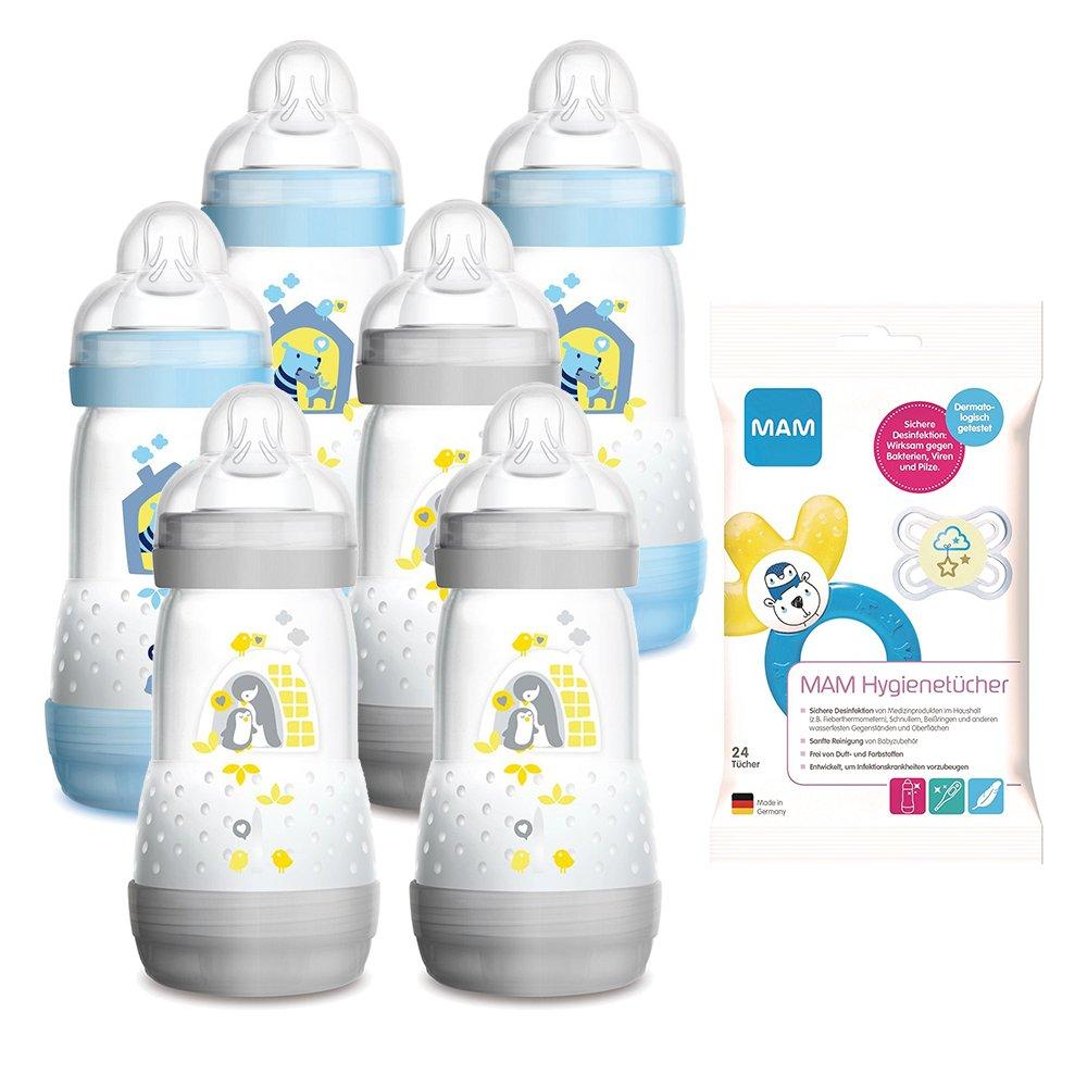 Mam Anti colic Botella 260 ml 6 Unidades Boys Incluye Aspiradora tamañ o 1 recié n nacido.