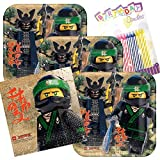 Lobyn Value Pack Lego Ninjago Party Plates and Napkins Serves 16 With Birthday Candles