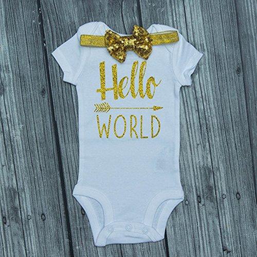 Hospital Baby Outfit Coming Home Baby Onesie Baby Shower Gift Hello World Onesie Newborn Gift Newborn Onesie