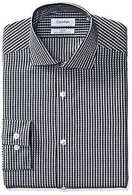 Calvin Klein Men's Non Iron Slim Fit Textured Check Spread Collar Dress Shirt