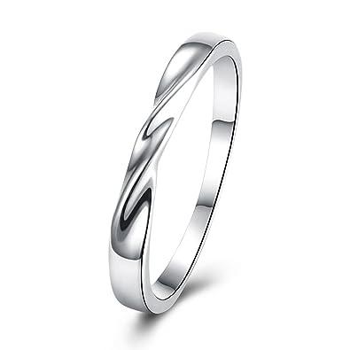 Adisaer - chapado en oro anillos plata Twist Simple Anillos Anillos de boda para novia: Amazon.es: Joyería