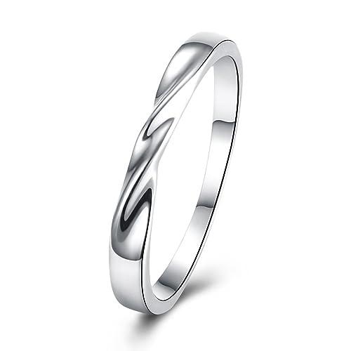 Adisaer – chapado en oro anillos plata Twist Simple Anillos Anillos de boda para novia