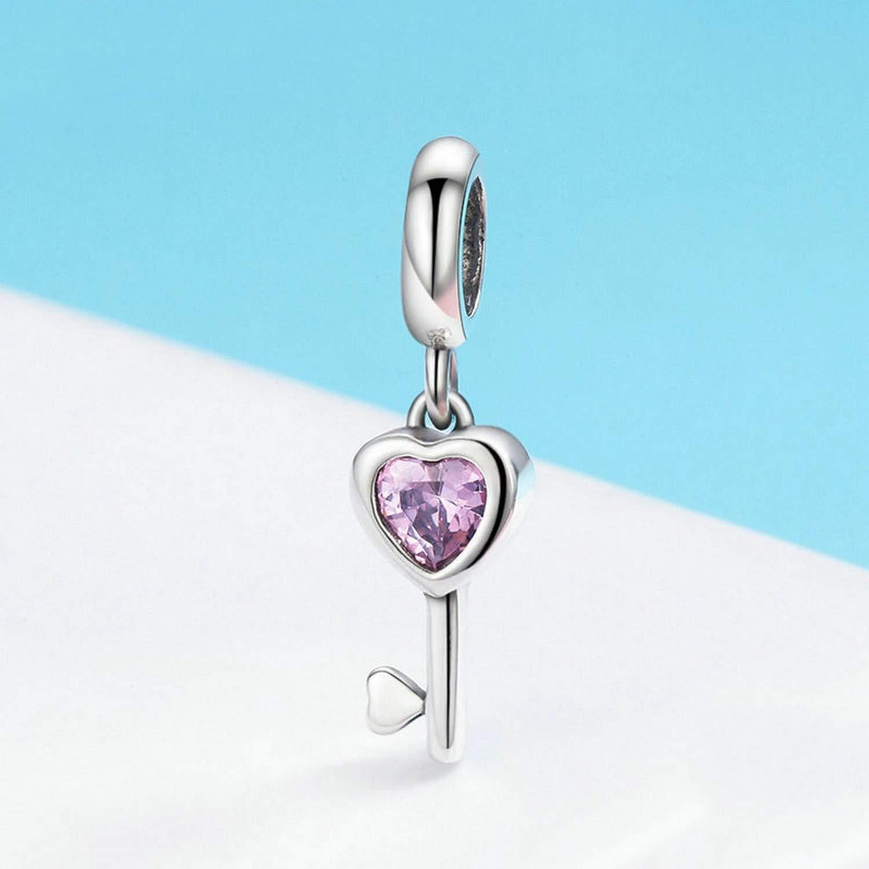 EverReena Fashion Key of Heart Dangles Silver Beads Bracelets