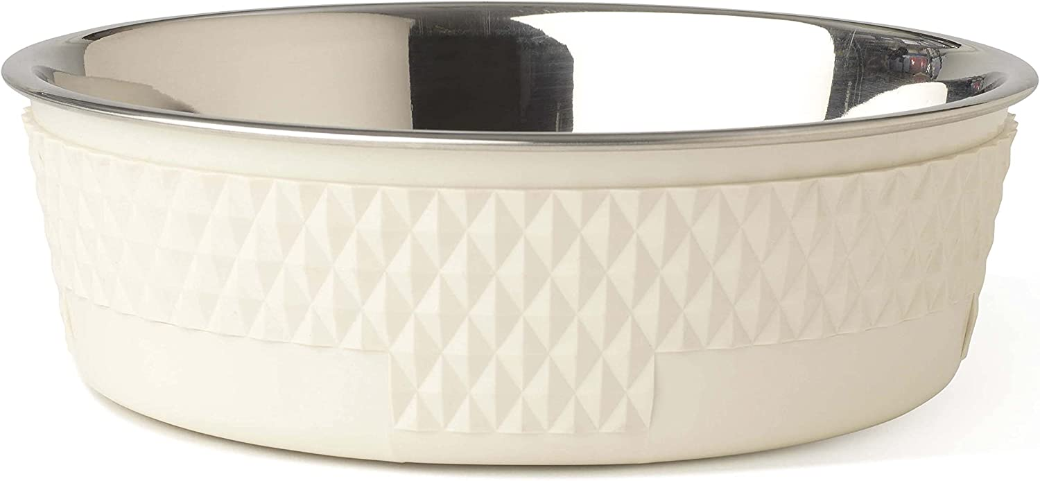 PetRageous 16011 Kona Stainless-Steel Non-Slip Dishwasher Safe Bowl 6.5-Cup 8.5-Inch Diameter 2.75-Inch Tall for Large and Extra Large Dogs and Cats, Antique White