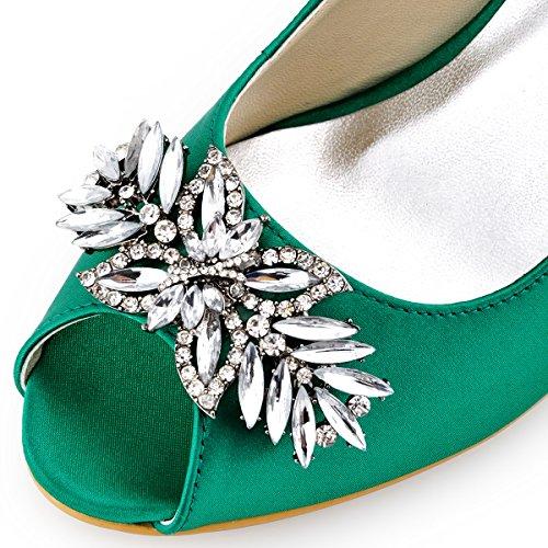 Pupms Verde HP1540 Saten zapatos Toe Rhinestones ElegantPark Clips Mid Leaves Mujer Novia Hebilla Peep boda Tacon ZXndxwYq