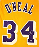 Shaquille Shaq O'Neal Los Angeles Lakers Autographed Yellow #34 Jersey