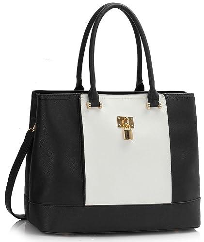 44884dac82 Womens Tote Shoulder Bag Ladies Designer Handbag Extra Large Size 2  Compartment New Look