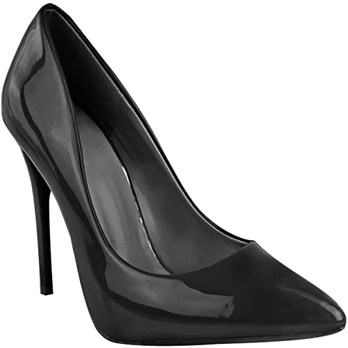 f0337057b5f Fashion Thirsty Womens Ladies Black High Heel Court Shoes Smart Formal Occasion  Party Size New