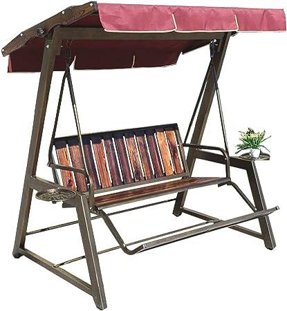 XLOO Asientos de Hamaca con Dosel para Columpios al Aire Libre, Columpio Loveseat, Banco de jardín Patio Park, Marco de Acero, artesanía de ratán, Negro, Muebles de Exterior para Jardines, Balcones,: Amazon.es:
