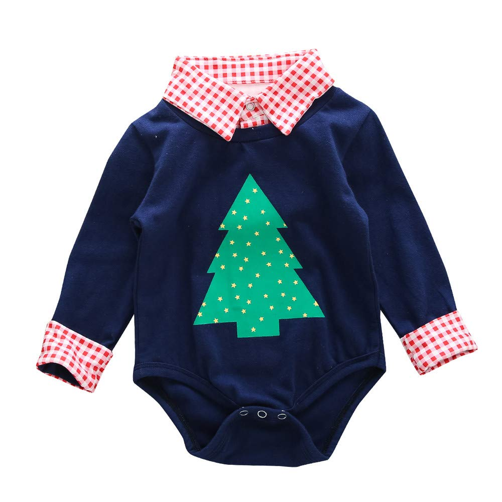 Sikye Baby Boy Outfit Newborn Plaid Collar Christmas Tree Romper Bodysuit Home Outwear