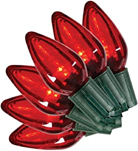 Home Accents Holiday 25 ft. 25-Light LED Red C9 Super Bright String Light TY417-1915R