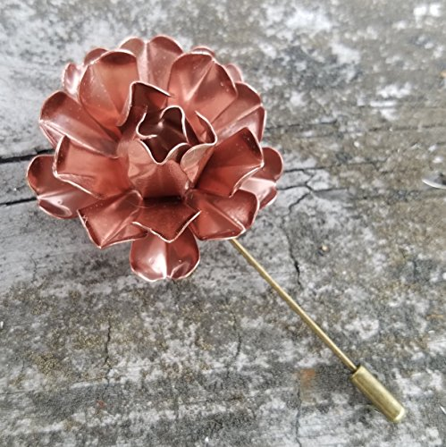 Copper Tone Painted Metal Flower Lapel - Gold Alicia