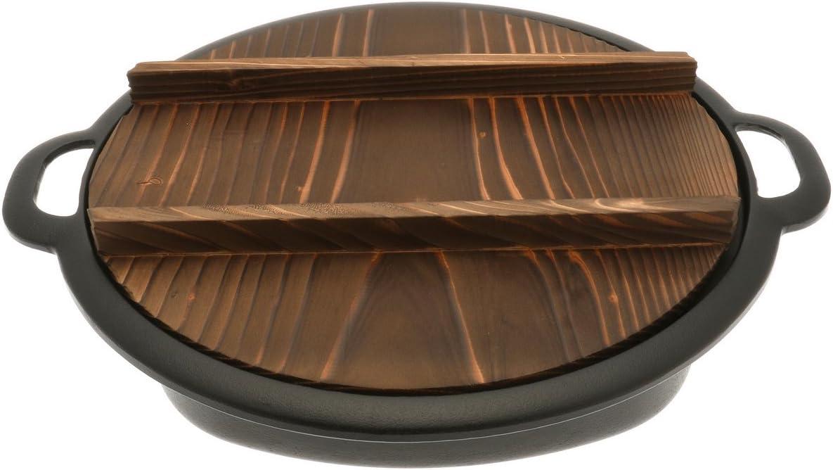 Iwachu Cast Iron Gyoza Pan with Wooden Lid, Large, Black