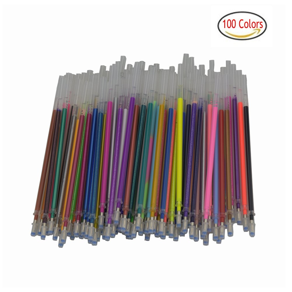 100 Gel Pen Refills-Glitter, Metallic, Classic, Pastel, Neon, Swirl, Glitter-Neon, Ideal for Adult Coloring Books, Scrapbooking, Crafts and Kids Projects