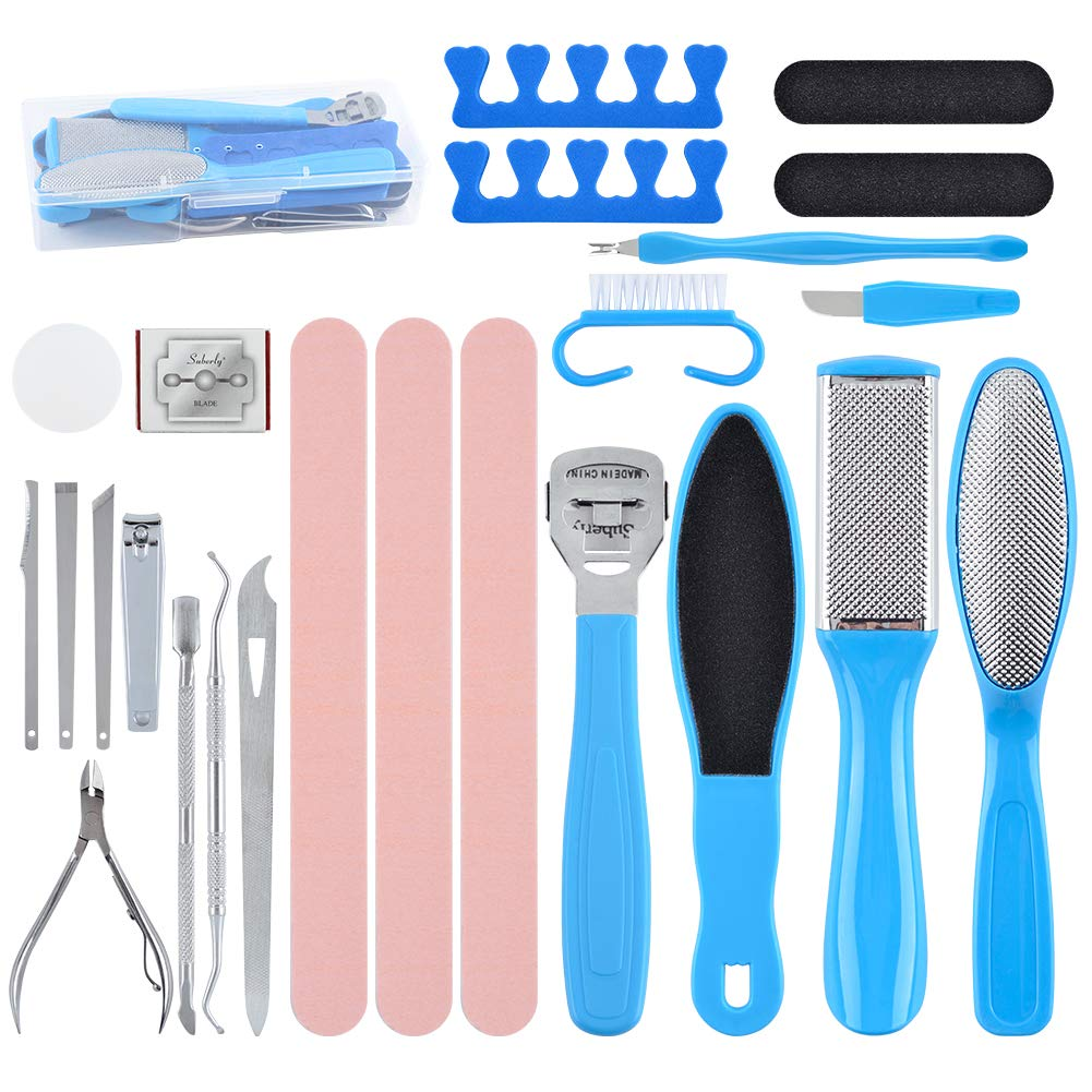 25 in 1 Pedicure Tools Foot Files Kit Professional Foot Care Pedicure Set Stainless Steel Foot Scrubber Dead Skin Foot Rasp Callus Remover Salon Spa at Home Men Women
