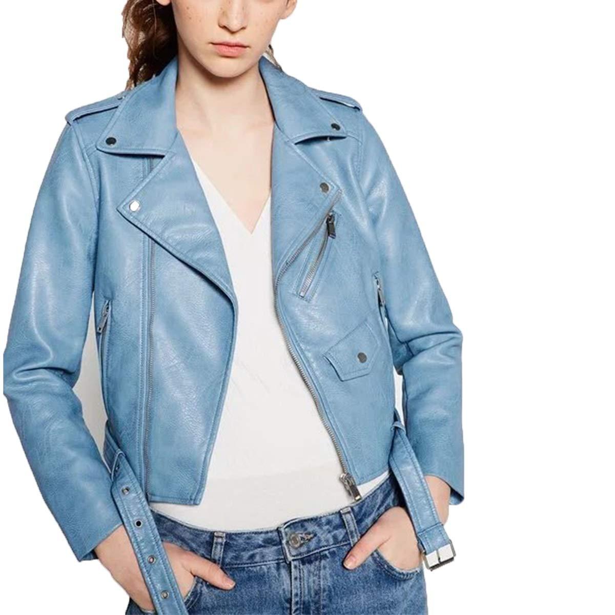 bluee PU Leather Biker Motorcycle Jacket Women Long Sleeve Zipper Coat With Belt