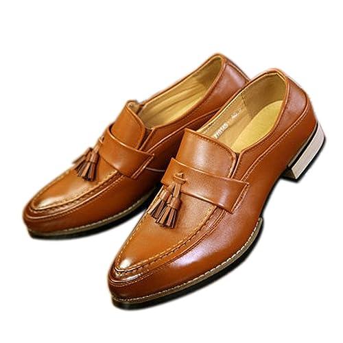Xianshu Hombres Tassel Mocasines Dedo del pie Puntiagudo Zapatos (Marrón-43)