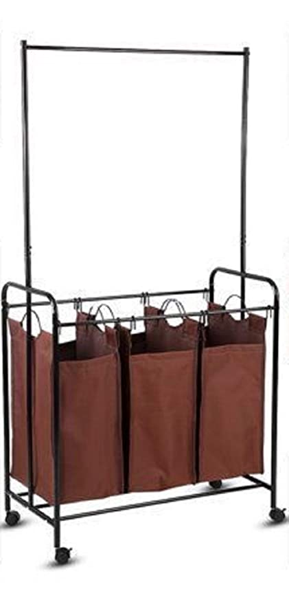 12935a042a9b Amazon.com: Wonderrun Laundry Hanger Basket Bag Square Rolling ...