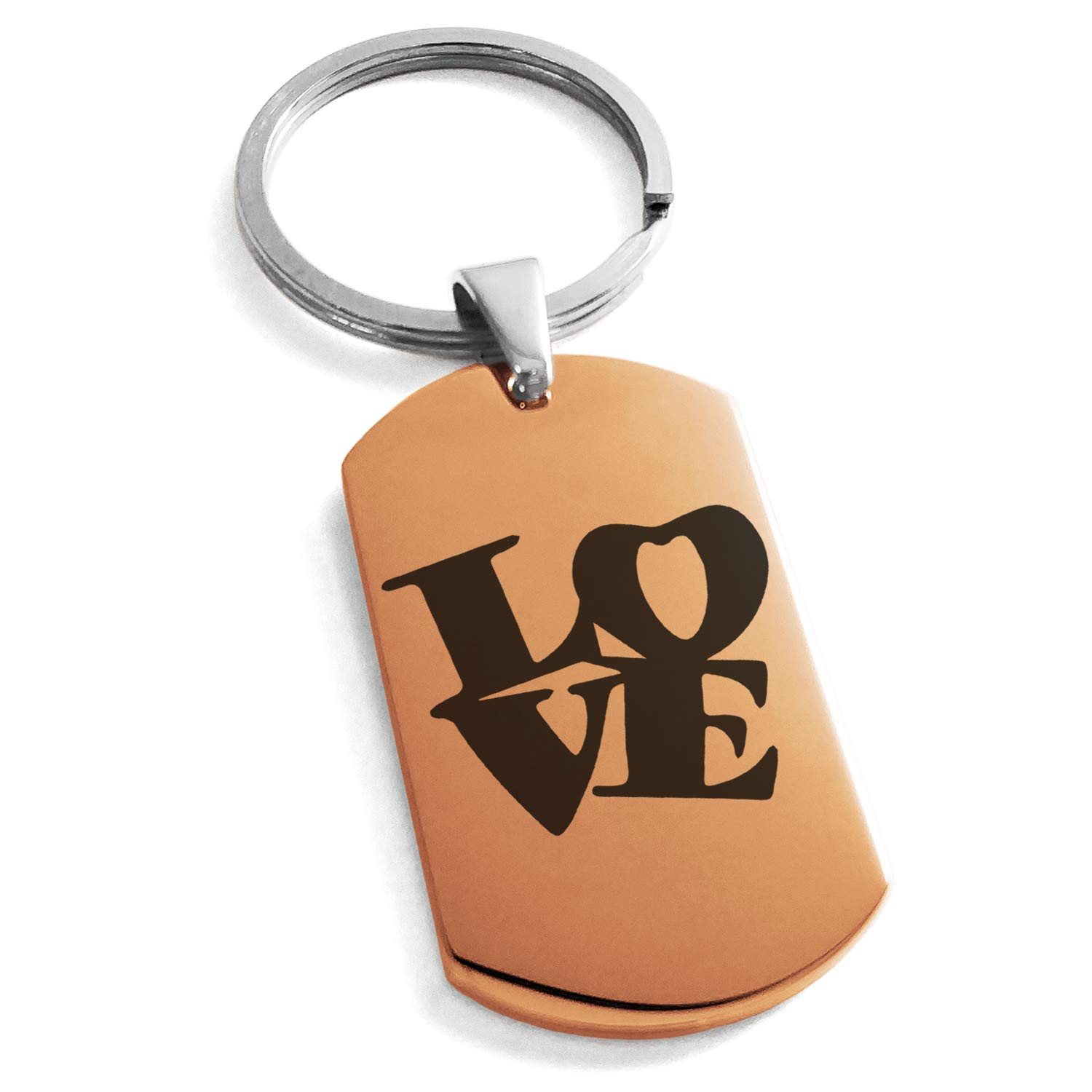 Tioneer Rose Gold Stainless Steel Love so Iconic Engraved Dog Tag Keychain Keyring by Tioneer (Image #1)