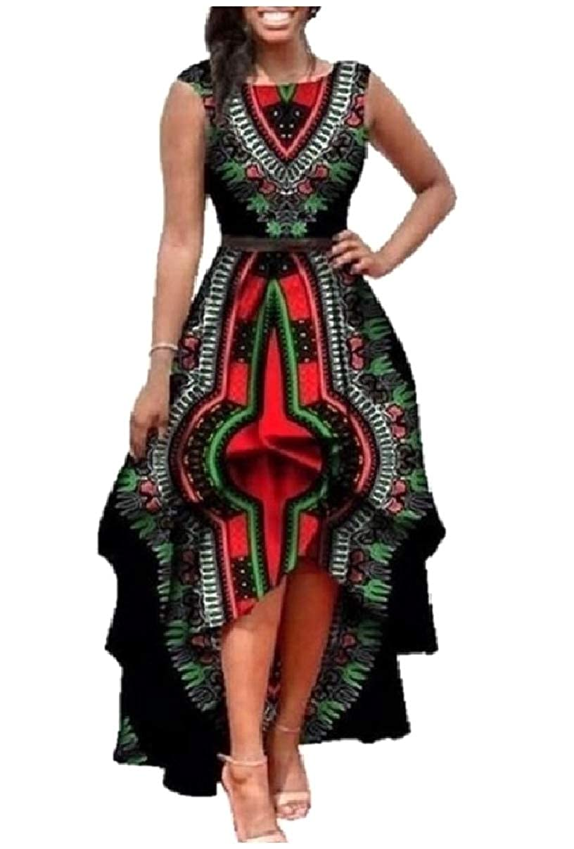 Tootlessly-Women Irregular Hem Dashiki Full Circle African Printed Dress
