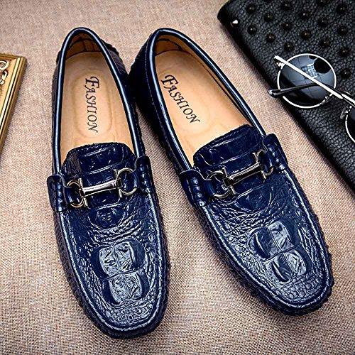 Go Tour Chaussures De Conduite En Cuir 3d Gaufré Casual Mocassins Slip-on Chaussures Avec D Métal Boucle 1 Bleu
