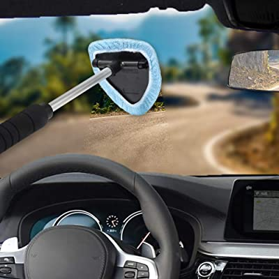 TIROL Microfiber Window Cleaner Brush Set 5 Pack Windshield Fabric Adjustable Triangular Shape Extendable Lengthen Car Clean Tools: Automotive