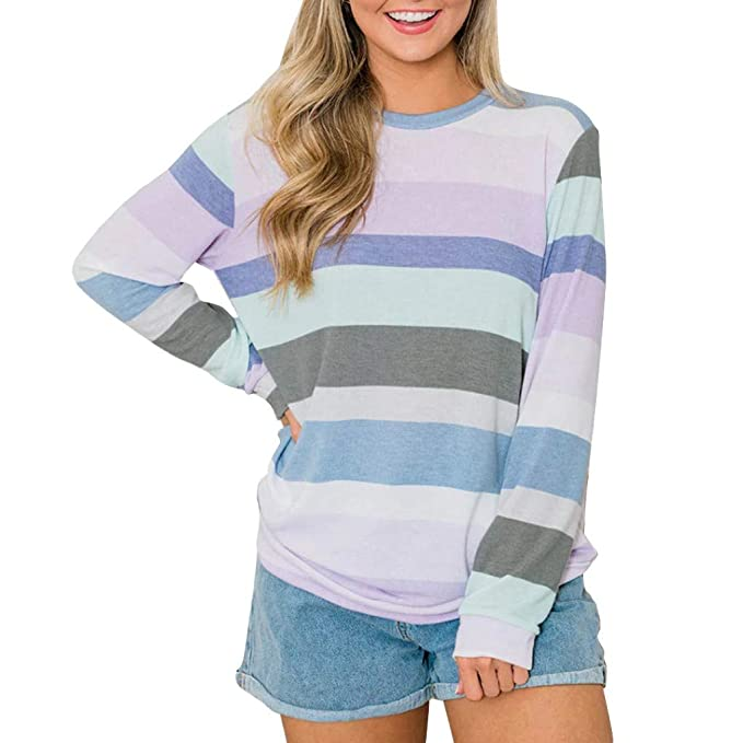 Round Neck Damen Pullover pink 38