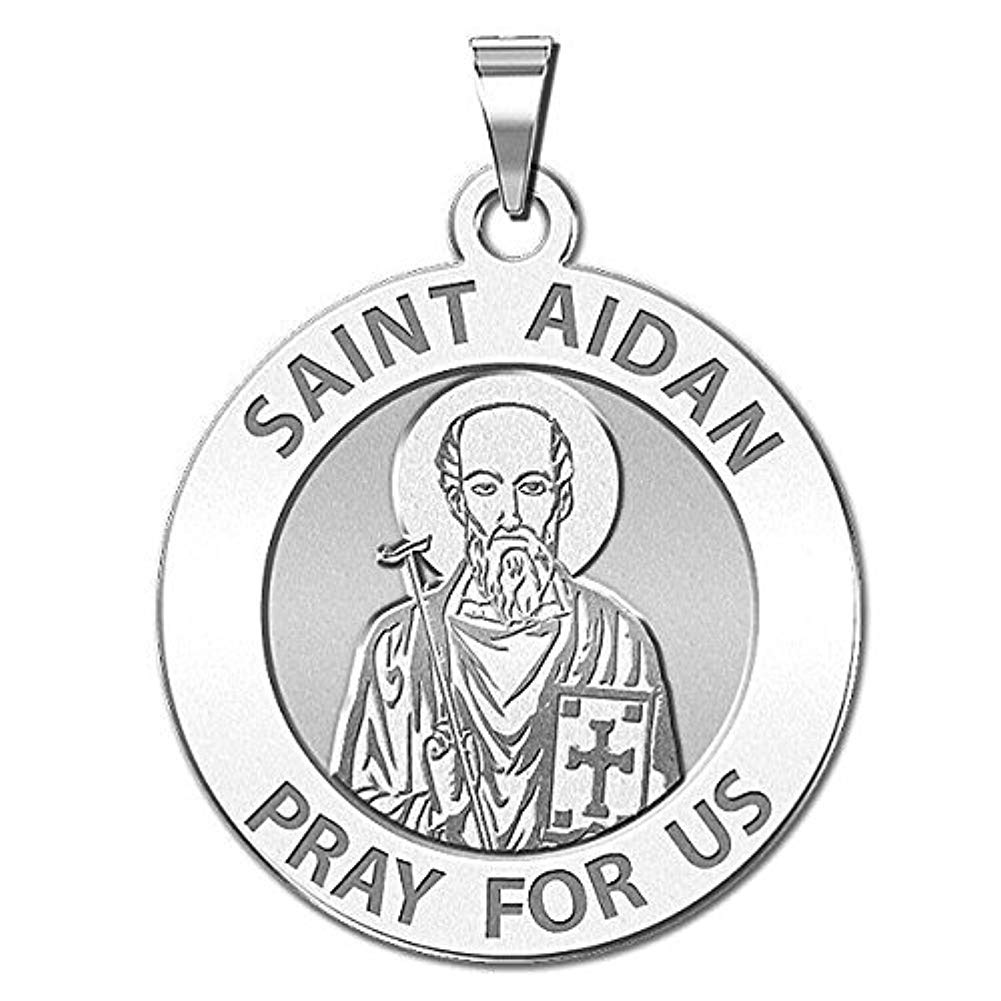 Sterling Silver PicturesOnGold.com Saint Aidan Religious Medal 2//3 Inch Size of Dime