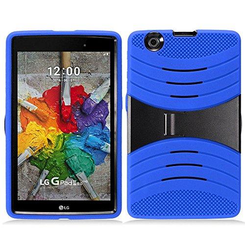 Plastic Outer Shell - KIQ LG GPAD X 8.0 (V520) Drop Protection Case Silicone Outer Layer, Hard Plastic Shell Cover Kickstand for LG G PAD GPAD X 8.0 8-inch V520 V521 / LG G Pad III 8.0 V525 (Hybrid Blue)