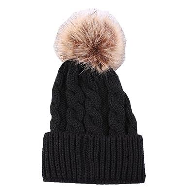 a07aa629c DH.M Simplicity Men/Women's Winter Hand Knit Faux Fur Pompoms Beanie ...