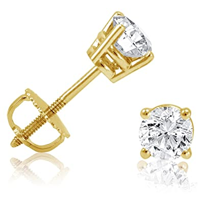 stud y diamond gold princess earrings union cut yellow