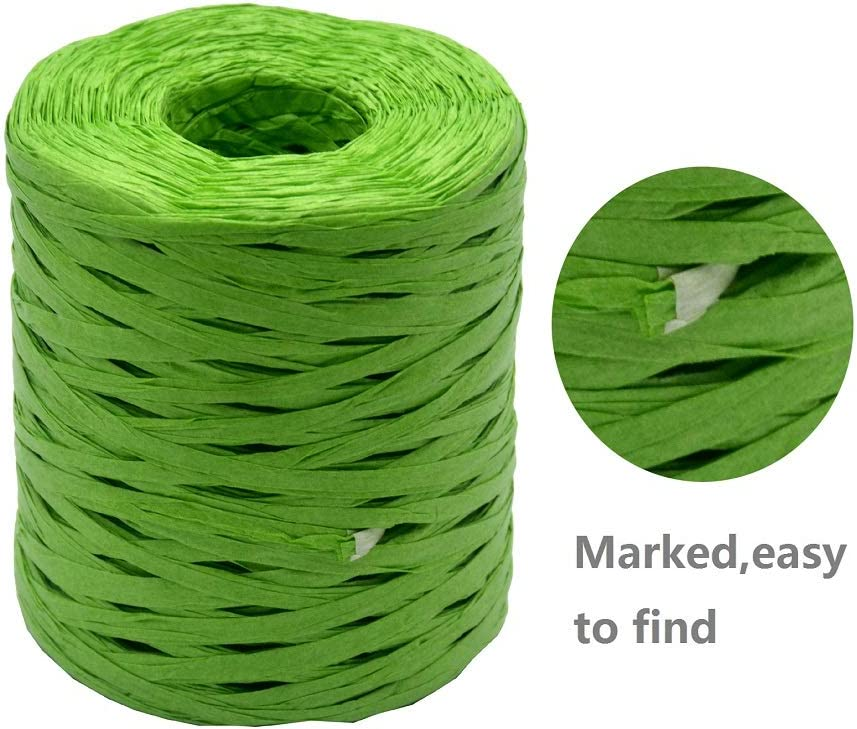 Raffia Paper Ribbon 1//4 Inch by 218 Yards for DIY Craft Gift Box Packing Paper Twine 218Yards, Yellow