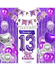 13th Birthday Decorations for Girls Purple and Silver, Teenager Birthday Decorations - Teenager Sash Banner Cake Topper Fringe Curtain, 13th Birthday Party Supplies