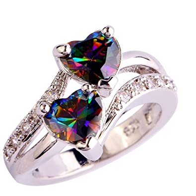 YAZILIND Engagement Heart Ring Colorful Crystal Bridal Anniversary Women Jewelry piH69f0
