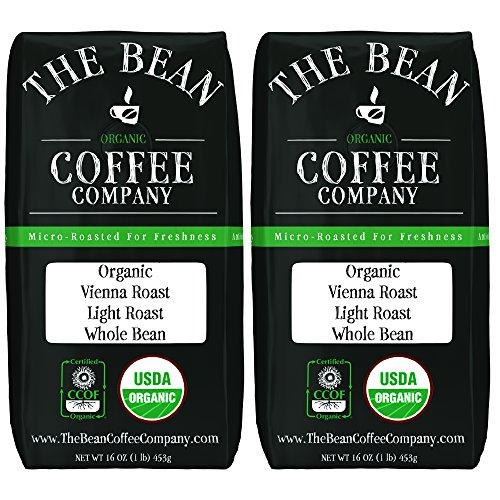 The Bean Coffee Company Organic Vienna Roast, Medium Dark Roast, Whole Bean, 16-Ounce Bags (Pack of 2) -
