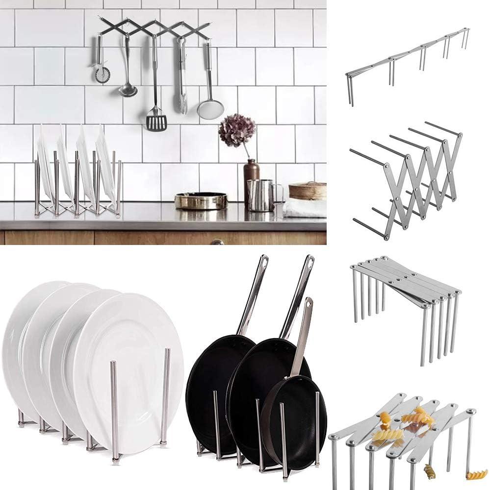 para Platos Dish Drainer Dish Rack Holder Organizaci/ón Estante Galapara Escurreplatos Enrollable Multiusos Plegable de Acero Inoxidable para Fregadero escurreplatos de Cocina