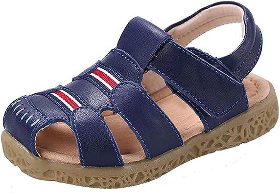 Gaatpot Boys Girls Closed Toe Sandals Kids Outdoor Leather Fisherman Sandals Summer Casual Flat Beach Walking Shoes Size