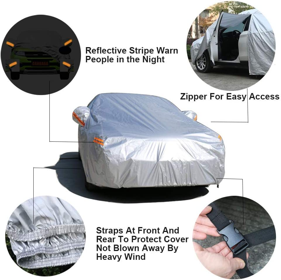 "Fit SUV Jeep-Length 191/"" to 200/"" SEAZEN Car Cover with Zipper,2 Layer Full Car Covers Waterproof All Weather,UV Protection Snowproof Dustproof,Universal Car Cover"
