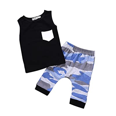 a702764ef Toddler Kids Baby Boys Girls Sleeveless T-Shirt Tops+Camo Stripes Shorts  Pants Outfits Summer Clothes Set