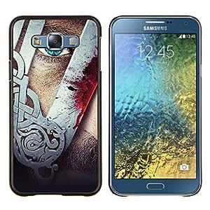 """Be-Star Único Patrón Plástico Duro Fundas Cover Cubre Hard Case Cover Para Samsung Galaxy E7 / SM-E700 ( Vikingo Hombre Arte Máscara del guerrero Tough Blue Eye"""" )"""